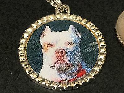 "Dog Pit Bull White Charm Tibetan Silver with 18"" Necklace BIN B"