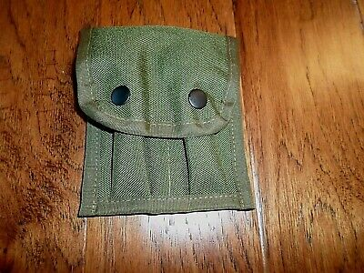 Green Nylon Double Ammunition Pouch 9 Mm Auto 2 Clip Capacity Snap Closure