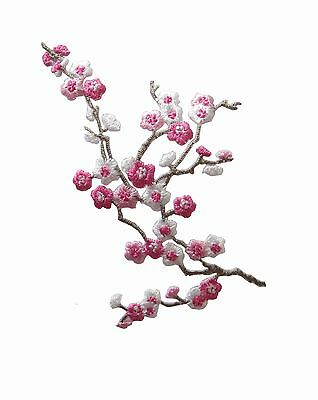 """#5036 3-3/4"""" Pink White Quince Sakura Flower Embroidery Iron On Applique Patch"""