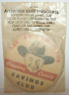 1950 Hopalong Cassidy Illinois Banking Association Bank Savings Club Pin Mip