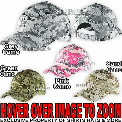 Adult DIGITAL CAMO Baseball Cap Hat Textured Cotton Low Profile Unstructured NEW