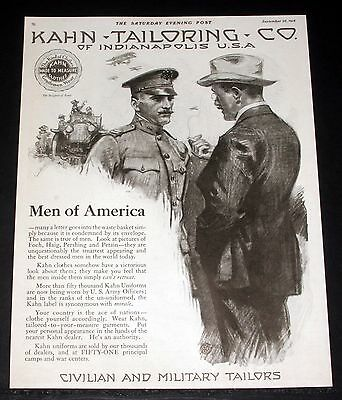 1918 Old Wwi Magazine Print Ad, Kahn Tailoring, Civilian And Military Tailors!