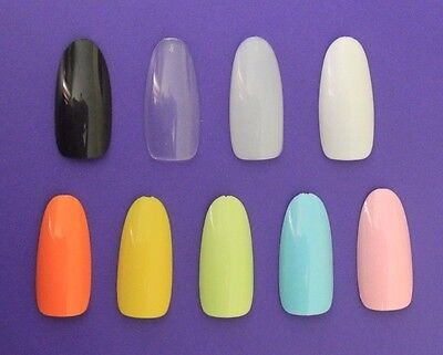 20 100 500 Full Cover Long OVAL Pre Shaped Design False Tips Fake Glue On Nails