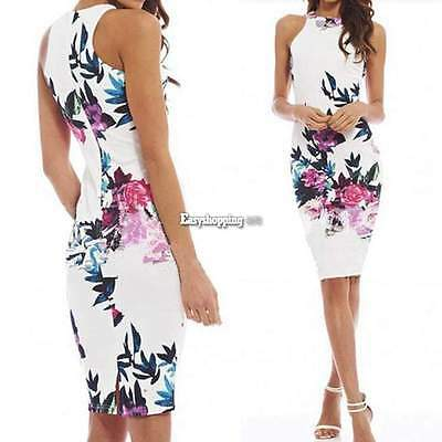 New Fashion Women Floral Bandage Bodycon Sleeveless Evening Party Cocktail Dress