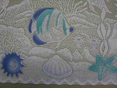NEW CAFE WHITE LACE KITCHEN CURTAIN REEF FISH THEME selling per mt