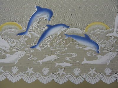 WHITE LACE KITCHEN, BATHROOM CURTAIN DOLPHIN PRINT - 120CM Length selling per mt