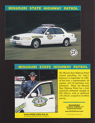 MISSOURI STATE POLICE TROOPERS Ford Squad Car Highway Patrol 1999 TRADING CARD