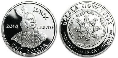Oglala Sioux Tribe 1 Dollar, 1 oz. Silver Plated Proof Coin, 2014, Mint