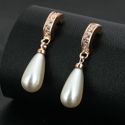18K Rose Gold Filled Imitation Pearl Made With Swarovski Crystal Drop Earrings