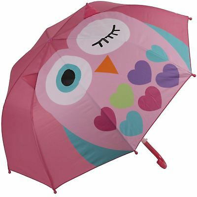 My Doodles Small Child's Cute Character Durable Novelty Kids Umbrella - Pink owl