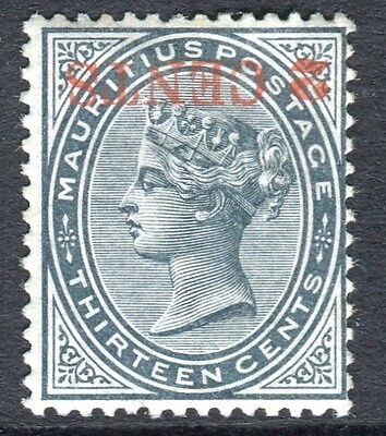 """MAURITUS-1887 2c on 13c Slate""""SURCH INVERTED"""".  A mounted mint example Sg 117a"""
