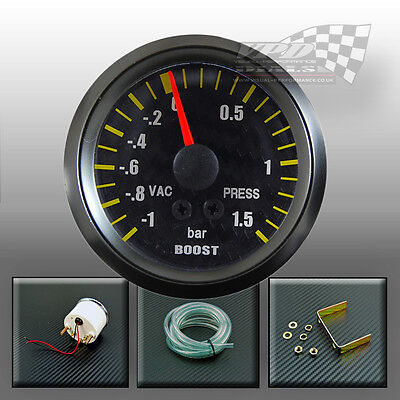 "Boost Gauge 2"" 52mm turbo carbon face black bezel surround interior dash mount"