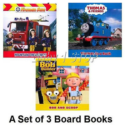 Lot de 3 Enfants Carte Livres Thomas & Friends+ Fireman Sam + Bob The Builder