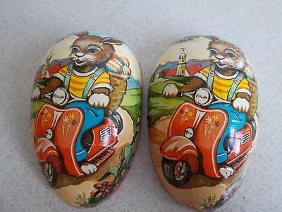 """Vintage Large PAPER MACHE candy container Easter EGG 8 1/4"""" x 5"""" WEST GERMANY"""