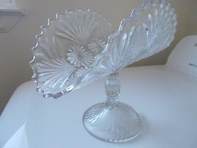 Vtg CLEAR GLASS FOLDED BENT PEDESTAL Bread Candy DISH BOWL floral fan scallop