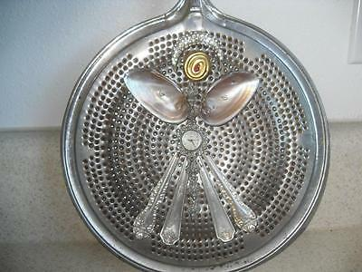 OOAK vtg SPLATTER COVER LID with HAND CRAFTED ANGEL Kitchen flat ware jewelery