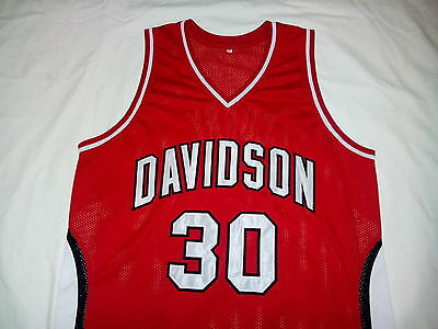 STEPHEN CURRY Davidson College Red Basketball Jersey Gift Size Large