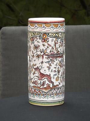 "Portuguese Portugal Round Handpainted Animals Floral Vase 8"" Tall EXC Free Ship"