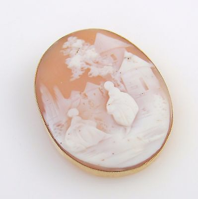 Lovely Vintage 14K Solid Yellow Gold Conch Shell Cameo Pin Brooch │RS