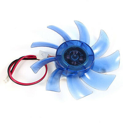 75mm 12VDC Blue Plastic VGA Video Card Cooling Fan Cooler for Computer DW