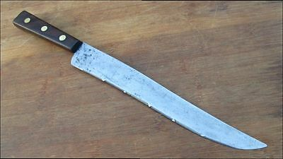 NICE Vintage BURNS Chef's Micro-Serrated  Carbon Steel Bread or Slicing Knife
