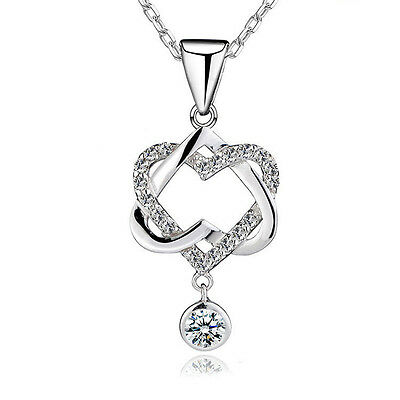 925 Sterling Silver Charm Crystal Heart to Heart Pendant Necklace Chain Jewelry