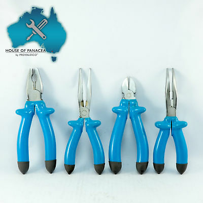 4PC Electrical Pliers Set Insulated - Combination Long nose Bent Side Cutter