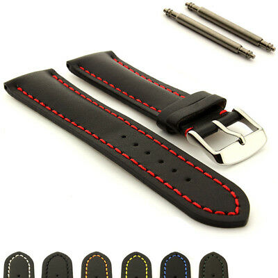 Two-piece Men's Genuine Leather Watch Strap Band Heavy Padded Canyon Spring Bars