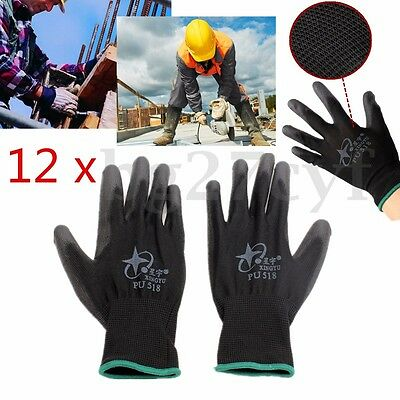 12 Pairs Antistatic Nylon Workers Work Gloves Hand Protect Palm Coated Black