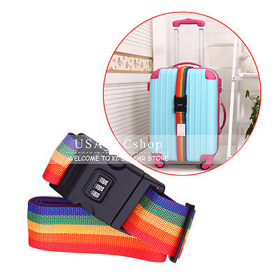 New Travel Luggage Suitcase Baggage Backpack Belt Strap Secure Password Lock