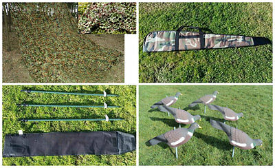 HHH Hunting® STARTER KIT-CAMO NET,HIDE POLES,CAMO RIFLE BAG AND 6 PIGEON DECOYS