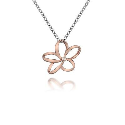 Hot Diamonds Paradise Open Flower Rose Gold Plated Silver Pendant DP612
