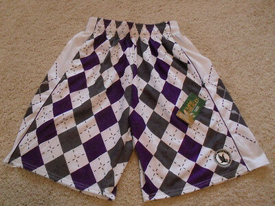Nwt Purple Gray Argyle Lacrosse Shorts By Flow Society Youth Small Lax $32.00 S