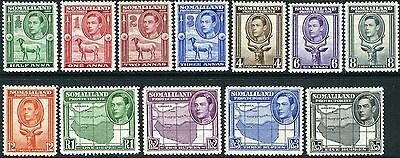 SOMALILAND-1951 KGVI Surcharge Definitives.  A mounted mint set of 11 Sg 125-135