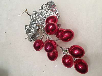 Vintage 11 Mercury Glass RED Easter Egg Pick,Decoration,Ornament, Eggs 1 1/4""