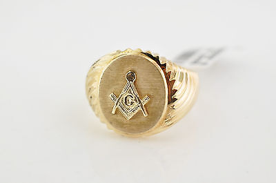 NEW Solid 10K Gold Masonic Ring Master Mason Freemason Masonry FREE SIZING