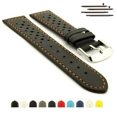 Genuine Leather Two-Piece Perforated Watch Strap Band RIDER Rally Racing Style