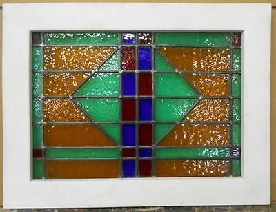 """MID SIZED OLD ENGLISH LEADED STAINED GLASS WINDOW Stunning Geo 24.75"""" x 18.75"""""""