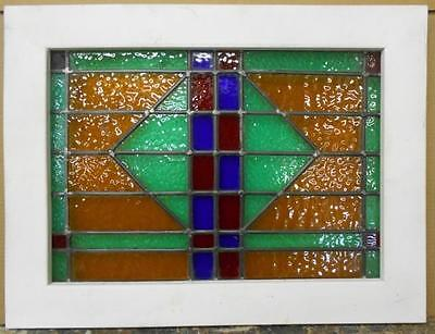 "MID SIZED OLD ENGLISH LEADED STAINED GLASS WINDOW Stunning Geo 24.75"" x 18.75"""