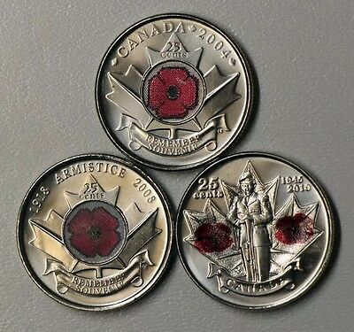 Canada's 3 Colored Poppy Quarters Coins 2004 2008 2010 Brilliant/Collectable