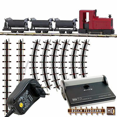Busch HOf 12010 Field railway Start Set with three Dumper and Power supply unit