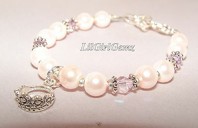 girls pink pearl crown tiara charm pearl baby child bead bracelet boutique gift