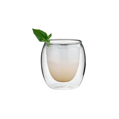 6x Double Wall Glasses 250ml Rounded 'Athena' High Quality Hand Blown Glassware