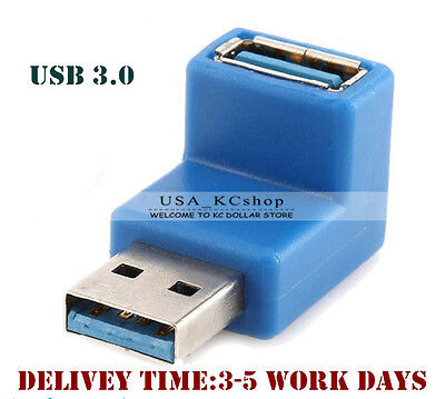 New 90 Degree Right Angle USB 3.0 A Male to Female Extension Cable Plug Adapter