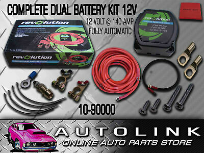 Complete Dual Battery Kit 12V 140A Electronic Isolator Fully Automatic Suit 4X4