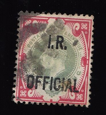 I.r. Official 1/- Dull Green And Carmine Used Example.