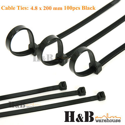 100 Pcs Cable Tie High Quality Black 4.8x 200 mm Nylon Cable Ties Zip  T0134