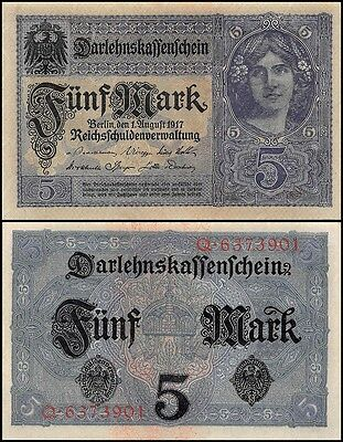 Germany 5 Mark, 1917, P-56a, UNC