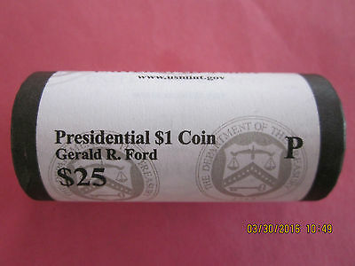 2016 (P) Gerald R. Ford Presidential One Dollar, 25-Coin Roll, Ship Now!!