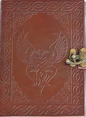 Handmade Celtic Birds Tooled Leather Blank Journal Diary Notebook Book (559-WL)